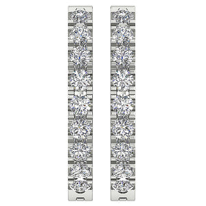 Top View Natural Diamond White Gold Earring-E-576