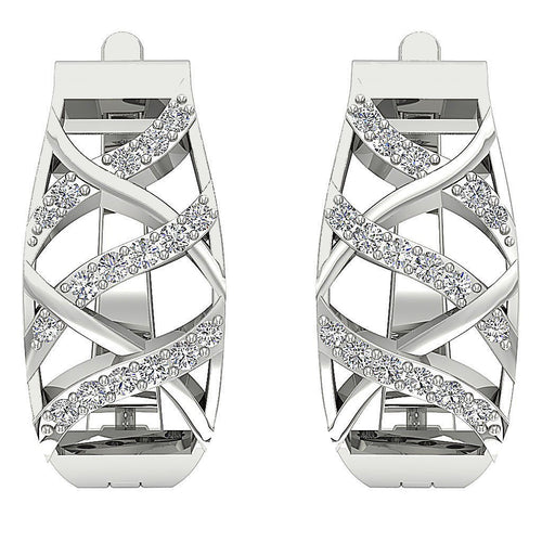 White Gold Earrings-E-604