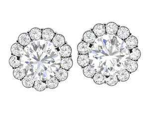 Natural Diamond White Gold Stud Earring-E-708