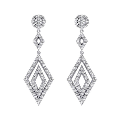 Dangle Chandelier Earrings Natural Diamonds 14k Solid Gold SI1 G 1.50 Ct