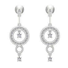 Load image into Gallery viewer, White Gold Round Designer Round Cut Diamond Earring-E-734