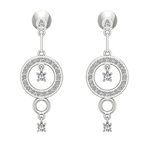 Dangle Chandelier Earrings 14k Solid Gold Round Cut Diamonds VVS1 E 0.50 Ct