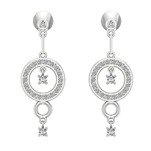 White Gold Round Designer Round Cut Diamond Earring-E-734