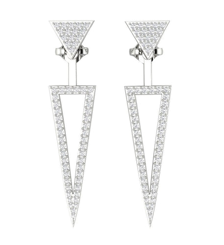 White Gold Round Cut Diamond Earring-E-780-1