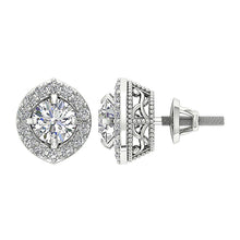 Load image into Gallery viewer, Halo Solitaire Diamond White Gold Earring-E-782-2