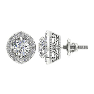 Halo Solitaire Diamond White Gold Earring-E-782-2