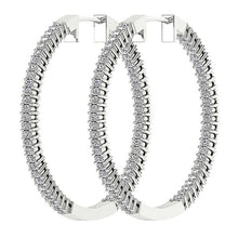 Load image into Gallery viewer, Inside Outside Hoop Earrings Natural Diamonds I1 G 2.00 Ct Pave Set 14k White Yellow Gold