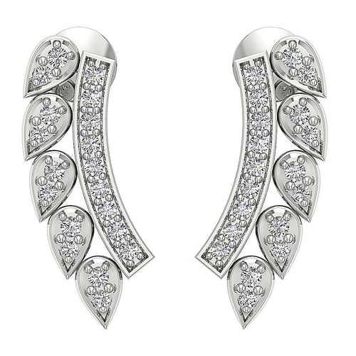 14k White Gold Designer Earrings-DE207