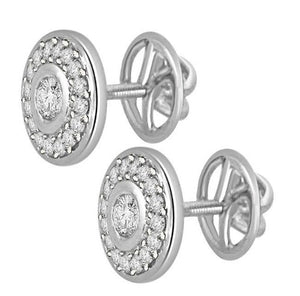 Designer Halo Solitaire Studs Earrings Pave Set 14k/18k Gold Natural Diamonds I1 G 0.50 Ct