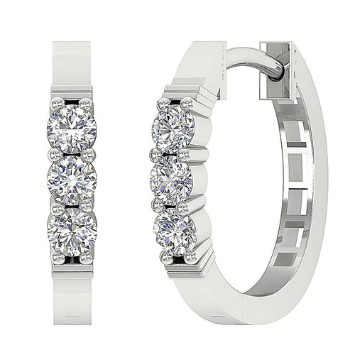 Hoops Earring Natural Diamond White Gold-E-248-3