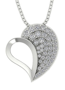 Heart Pendants 14k/18k White Yellow Rose Gold SI1 G 0.60 Ct Round Cut Diamonds