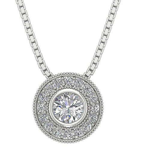 Diamond White Gold Pendants-DP315