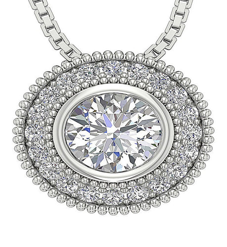 Front View Diamond White Gold Pendants-DP315