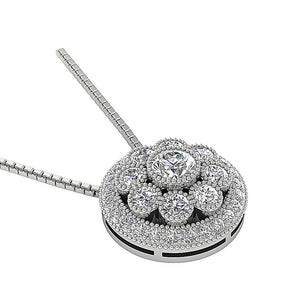 Halo Cluster Pendants 14k/18k Solid White Gold Natural Diamond I1 G 1.90 Ct Prong Bezel Set