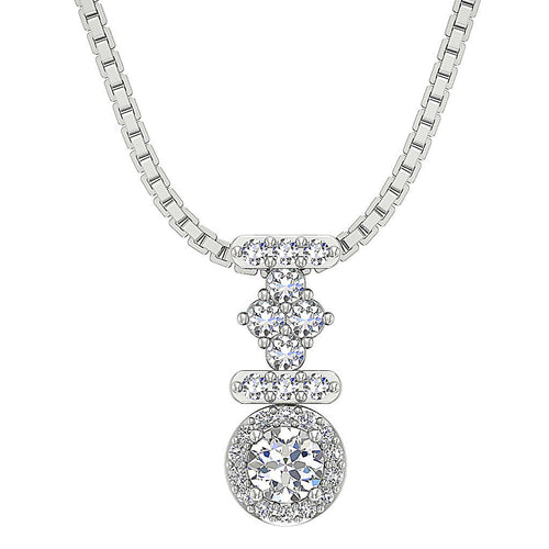 Diamond White Gold Pendants-DP354
