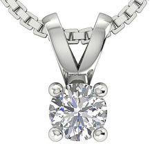 Load image into Gallery viewer, Solitaire Pendants 14k/18k Solid White Gold I1 G 0.25 Ct Natural Diamonds Prong Set Width 4.00 MM