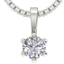 Load image into Gallery viewer, Natural Diamond White Gold Solitaire Pendants-DP90-0.25