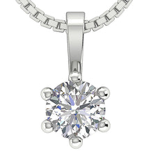 Load image into Gallery viewer, Prong Set Natural Diamond White Gold Pendants-DP90-0.50