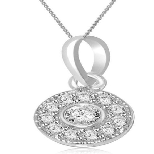 Front View Diamond White Gold Pendants-P-165