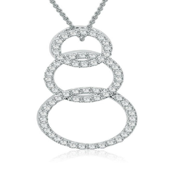 Round Diamonds Triple Circle Pendants-P-390