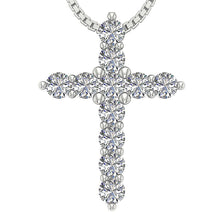 Load image into Gallery viewer, Natural Diamond Designer White Gold Cross Pendants-P-589