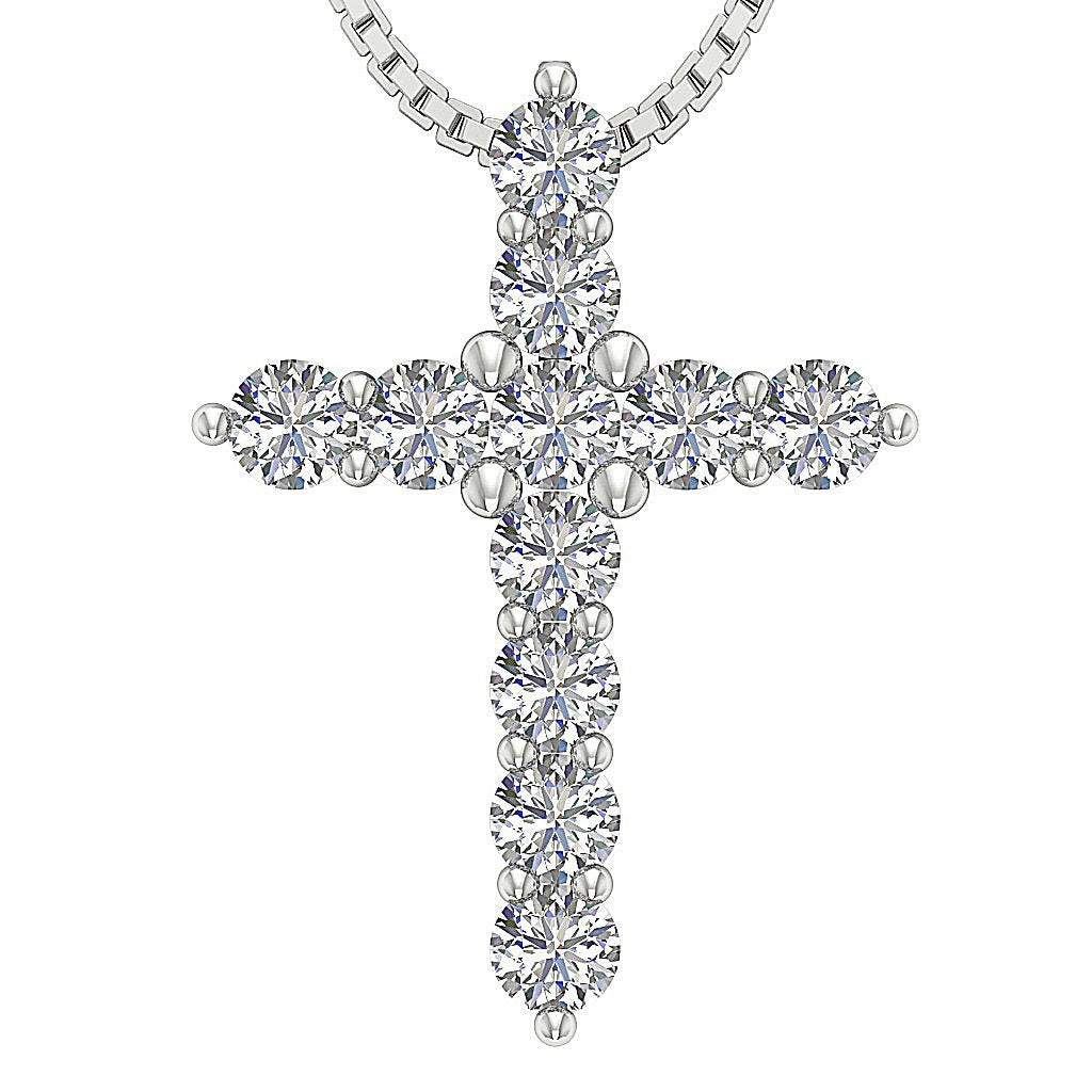 Natural Diamond Designer White Gold Cross Pendants-P-589