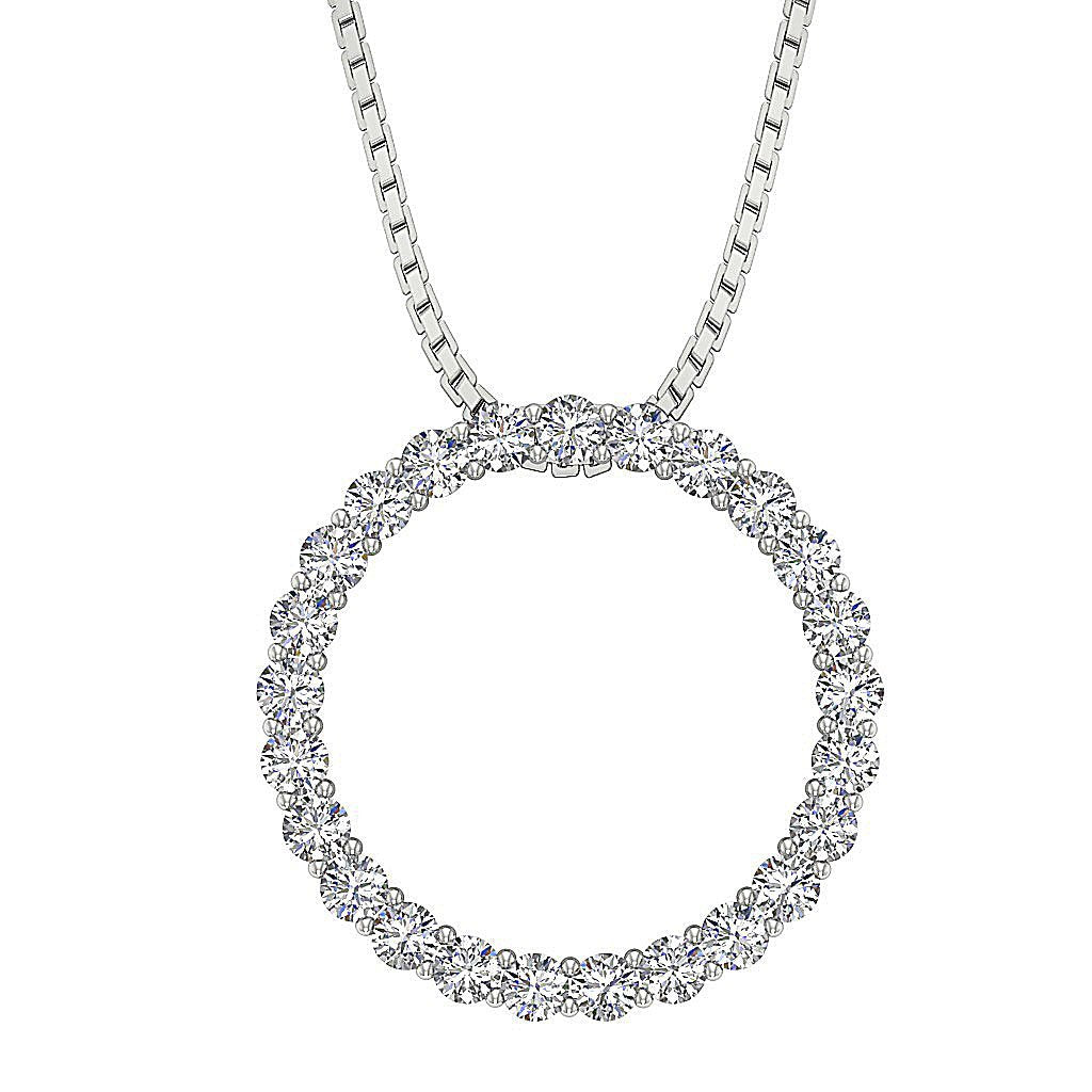 Circle Of Love Pendants Pave Set Natural Diamond I1 G 0.50Ct 14k/18k White Yellow Rose Gold