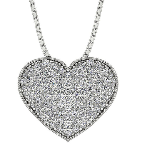 Heart Pendants 14k/18k Solid White Gold I1 G 0.65 Ct Pave Set Round Cut Diamond