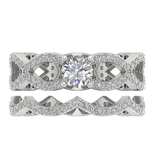 Load image into Gallery viewer, I1 G 1.40 Ct Designer Bridal Ring Set Natural Diamond Prong & Pave Set