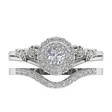 Load image into Gallery viewer, Designer Double Halo Bridal Ring Set Round Cut Diamond I1 G 0.75 Carat