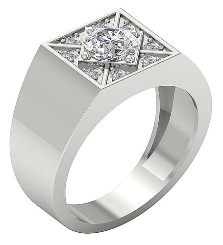 Round Diamond Prong Set Mens Solitaire Anniversary Ring 14k Solid Gold I1 G 1.30Ct Width 11.85MM