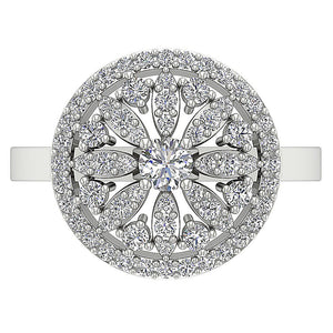 Top View Prong Set Diamond White Gold Ring-DRHR3-5
