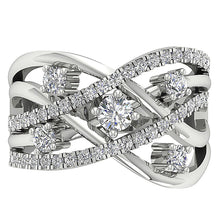 Load image into Gallery viewer, Top View Genuine Diamond White Gold Ring-DRHR5-5