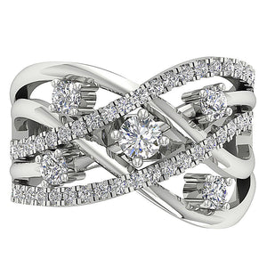 Top View Genuine Diamond White Gold Ring-DRHR5-5