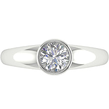 Load image into Gallery viewer, Vintage Round Diamond White Gold Ring Top View-DSR154-SR-656