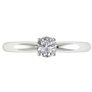 Diamond Solitaire Ring White Gold Top View-DSR26-0.50
