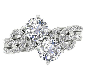 Round Cut Diamond White Gold Ring-DSR339