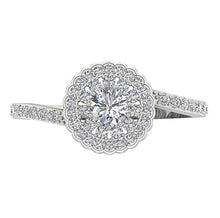 Load image into Gallery viewer, Vintage Round Diamond White Gold Womens Ring-DSR634-5