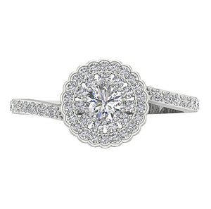 Vintage Round Diamond White Gold Womens Ring-DSR634-5