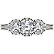 Load image into Gallery viewer, Designer Rings Round Cut Diamonds Filigree -DTR156-8