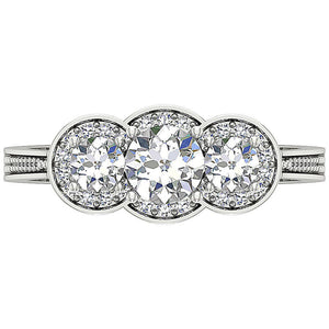 Designer Rings Round Cut Diamonds Filigree -DTR156-8