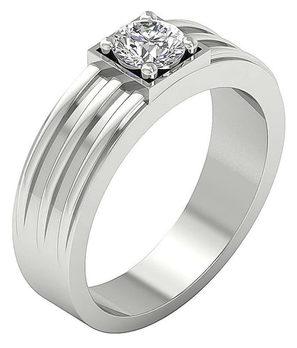 14k Solid Gold SI1/I1 G 0.75Ct Mens Solitaire Wedding Ring Round Diamond Prong Set Width 6.90MM