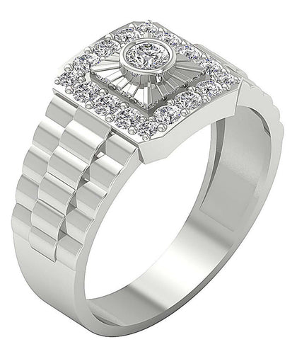 SI1/I1 G 0.90Ct 14k Solid Gold Mens Solitaire Engagement Ring Round Diamond Bezel Set Width 11.85MM