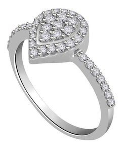 White Gold Prong Set Real Diamond Ring-RHR 140-2