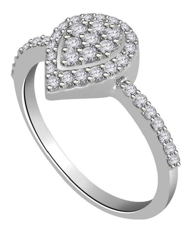 Right Hand Designer Anniversary Ring Natural Diamond I1 G 0.55 Ct 14k White Gold Prong Set 9.80MM