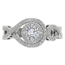 Load image into Gallery viewer, Genuine Diamond 14K White Gold Solitaire Ring Top View-SR-1040-4