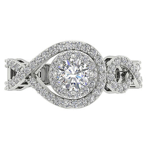 Genuine Diamond 14K White Gold Solitaire Ring Top View-SR-1040-4