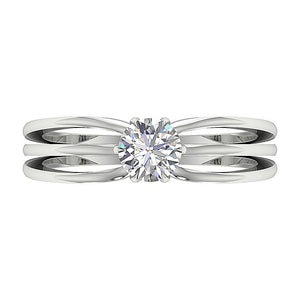 Solitaire Natural Diamond Designer Engagement Ring I1 G 0.65 Ct 14K Solid Gold 6 Prong Set 5.90MM