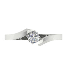 Load image into Gallery viewer, Round Cut Diamond White Gold Ring Top View-SR-724
