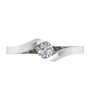 14K White Gold Solitaire Natural Diamond Designer Engagement Ring I1 G 0.35 Ct Bezel Set 6.50MM